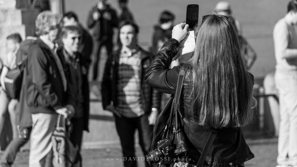 Woman with cameras